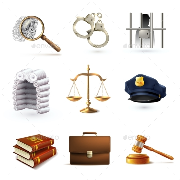 Law Legal Icons Set - Business Icons