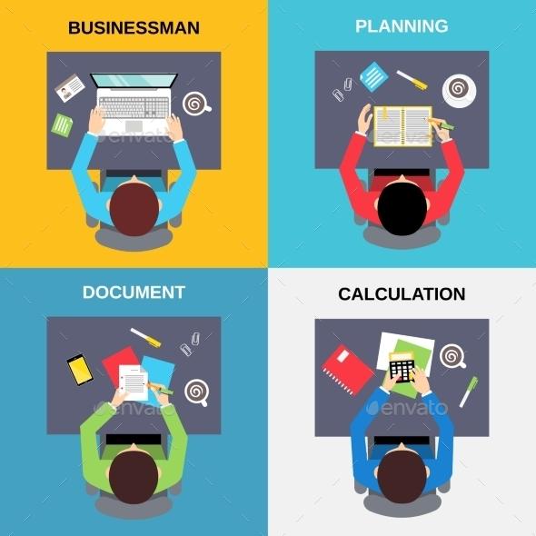 Top View Businessman Set - Concepts Business