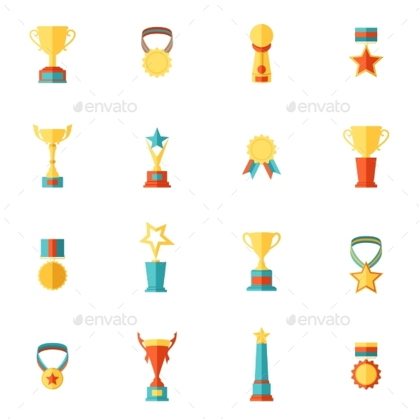 Trophy Icons Set - Web Technology