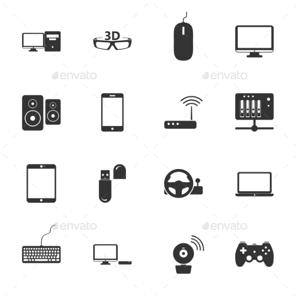 Computers Peripherals Icons - Web Technology