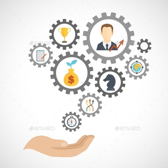 Business Strategy Planning Icon Flat - Business Conceptual