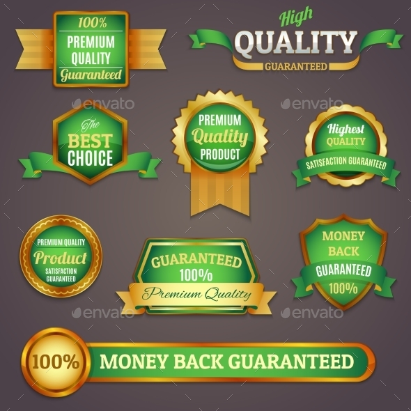 Colored Quality Labels Set - Retail Commercial / Shopping