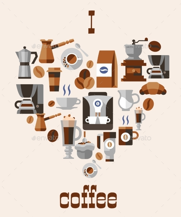 Love Coffee Concept - Food Objects