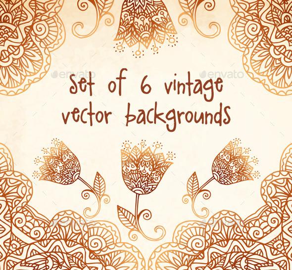 Set of 6 Vintage Vector Backgrounds - Backgrounds Decorative