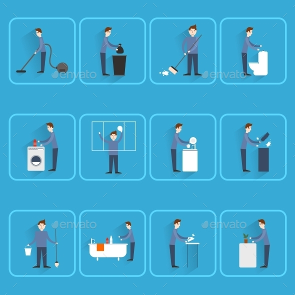 People Cleaning Icons - People Characters