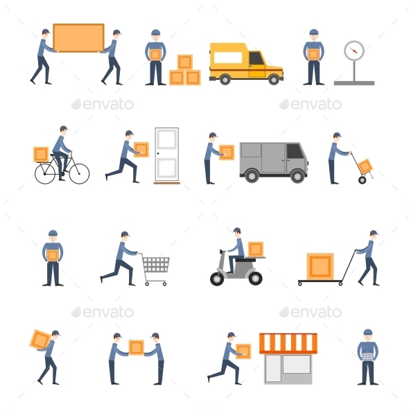 Delivery Icons Flat Set - Business Conceptual