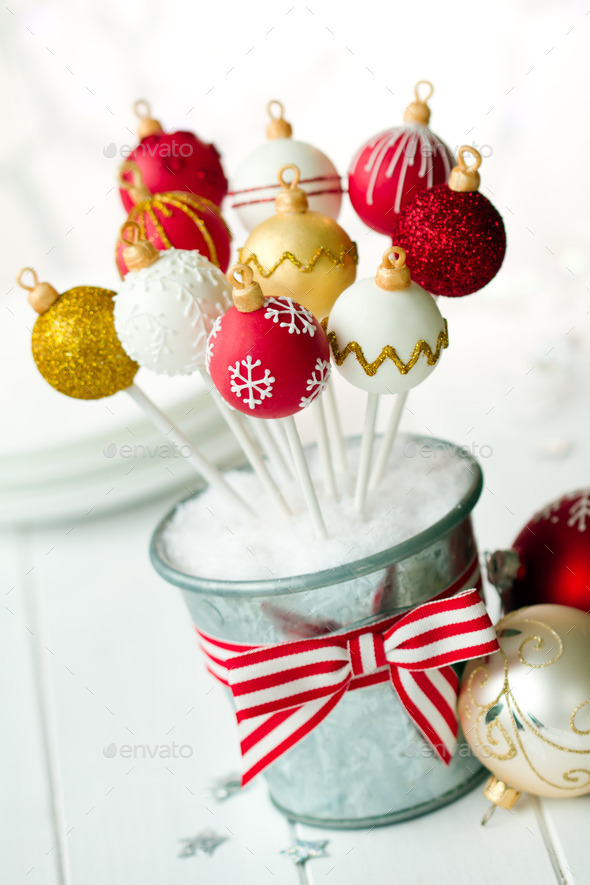 Christmas bauble cake pops - Stock Photo - Images