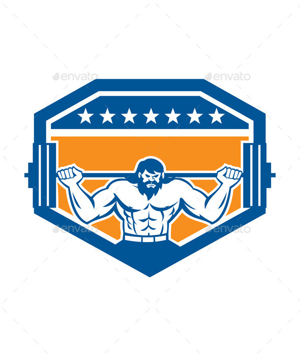 Bodybuilder Lifting Barbell Shield Retro - Sports/Activity Conceptual