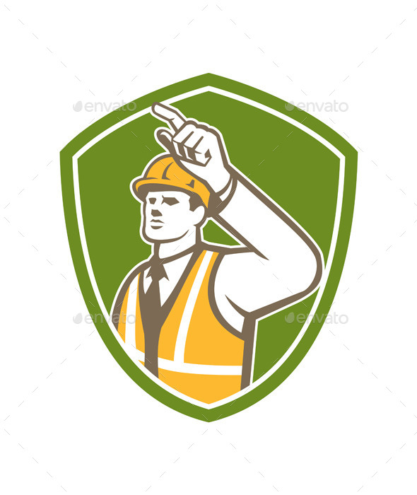 Builder Construction Worker Pointing Shield Retro - People Characters
