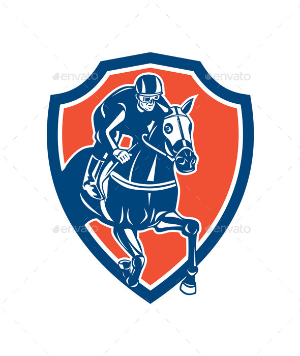 Jockey Horse Racing Shield Retro - Sports/Activity Conceptual