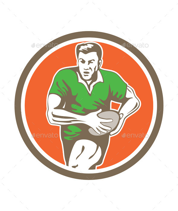 Rugby Player Running Ball Circle Retro - Sports/Activity Conceptual