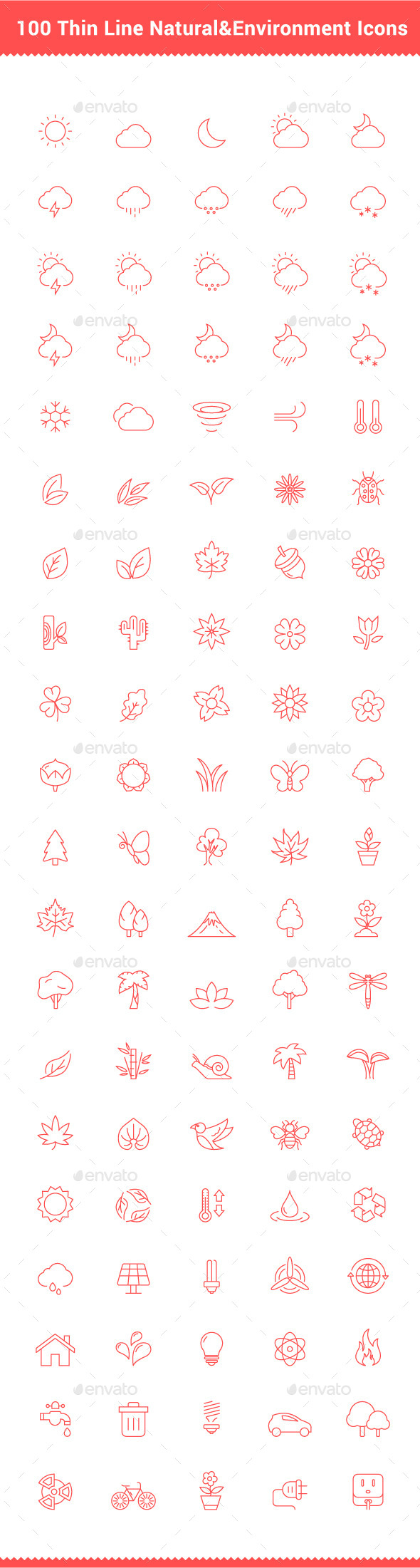 100 Thin Line Stroke Natural and Environment Icons - Icons
