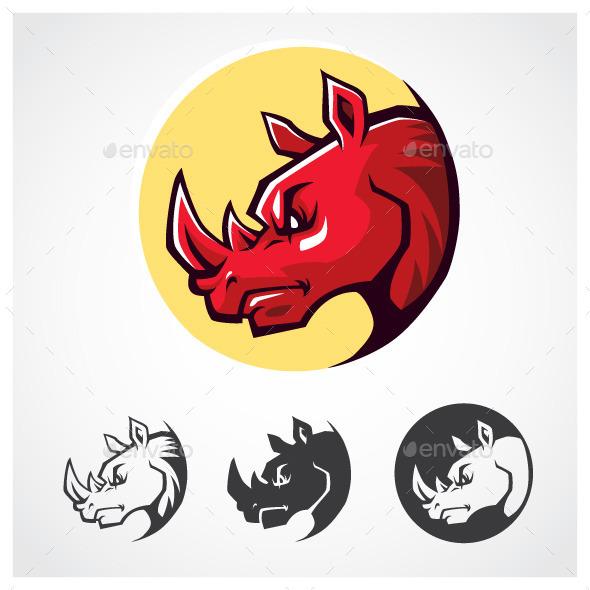 Rhinoceros Head Symbol - Animals Characters