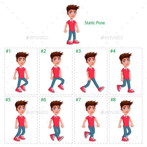 Animation of Boy Walking - People Characters