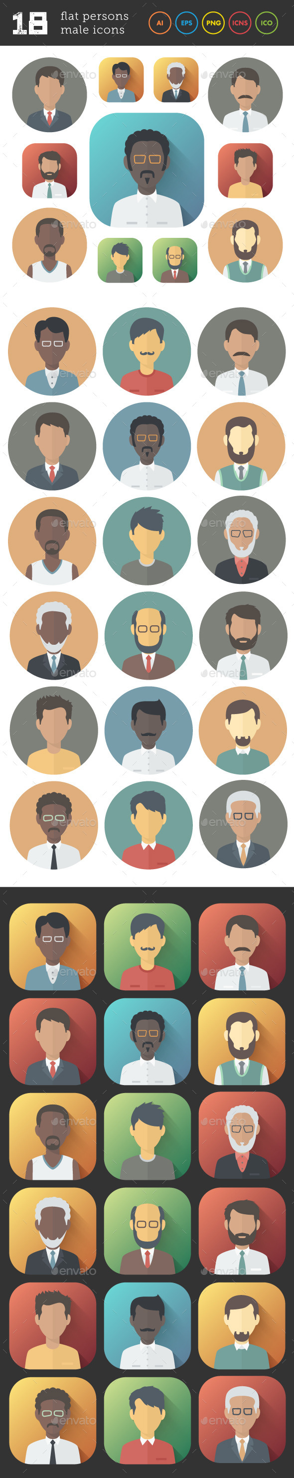 Flat Icons Set of Male Persons - People Characters
