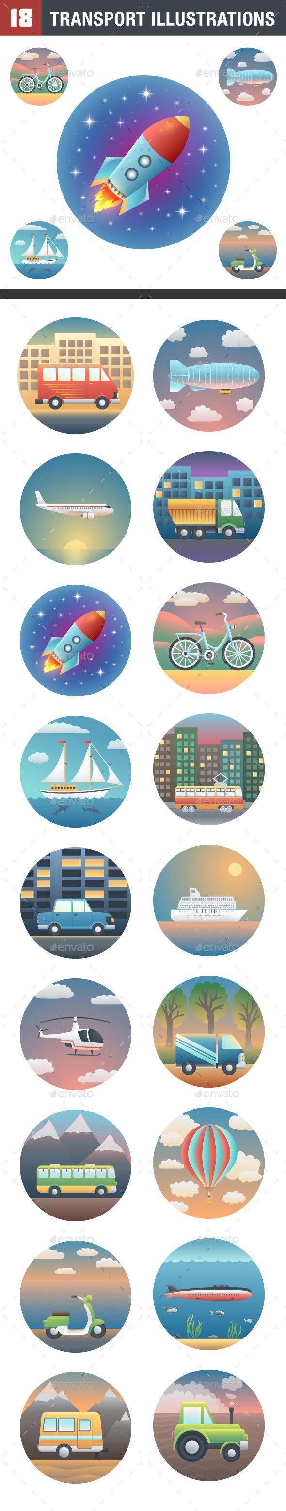 Set of HQ Transport Illustrations - Travel Conceptual