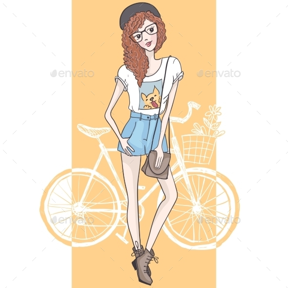 Hipster Fashion Girl - People Characters