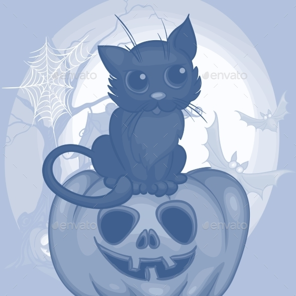 Halloween Background with Cat - Halloween Seasons/Holidays