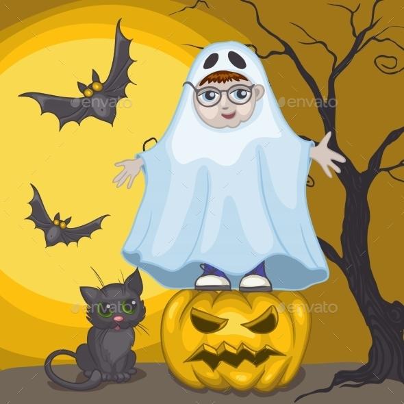 Little Ghost and Pumpkin Halloween Background - Halloween Seasons/Holidays