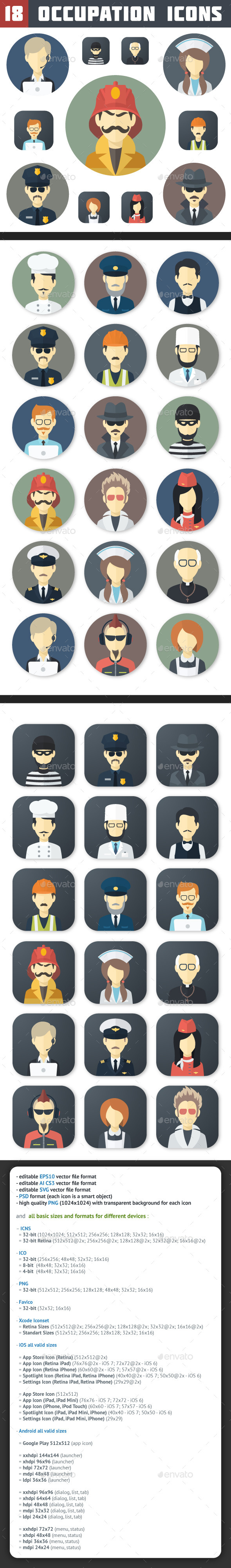 Flat Occupation Icons Set - People Characters