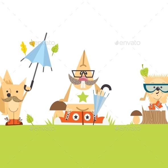 Cartoon  Animals Hipster Style - Seasons Nature