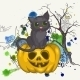 Halloween Background with Pumpkins and Cat - GraphicRiver Item for Sale