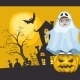 Little Ghost and Pumpkin Halloween Background - GraphicRiver Item for Sale