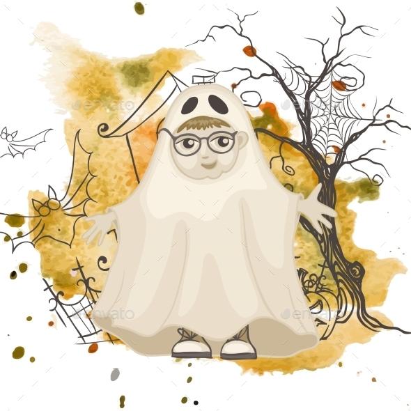 Little Ghost Halloween Background - Halloween Seasons/Holidays