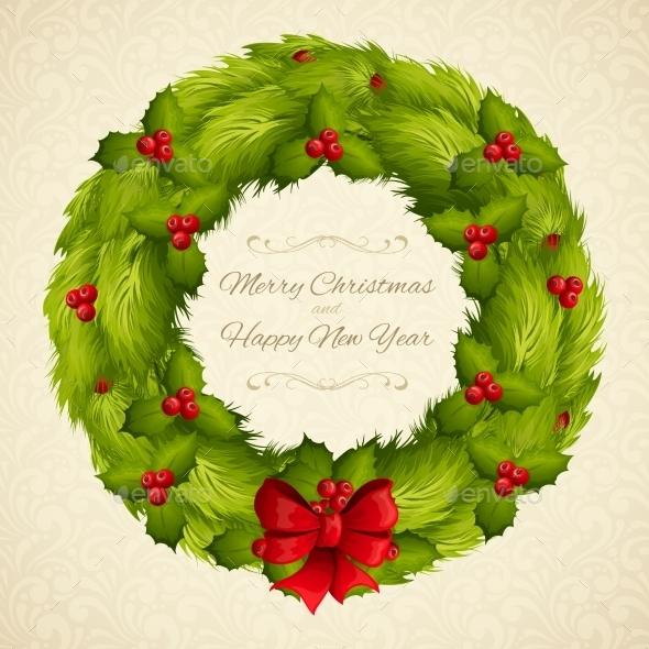 Christmas Wreath Postcard - Christmas Seasons/Holidays