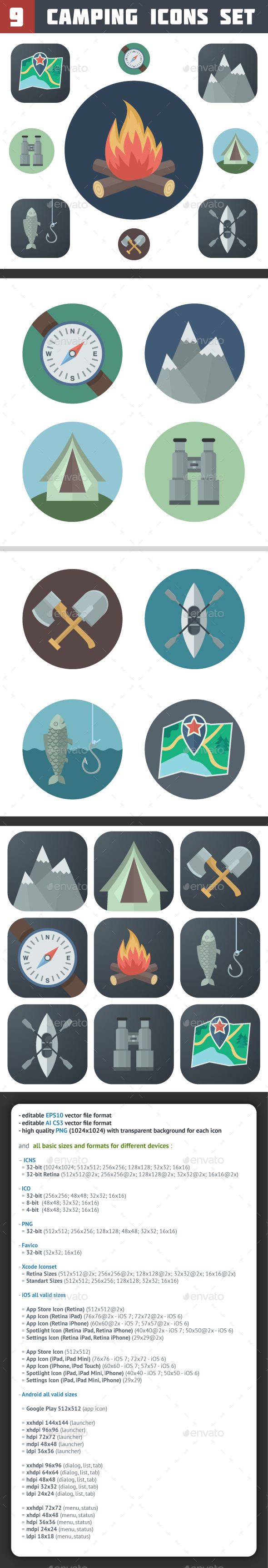 Camping Icons Set - Miscellaneous Icons