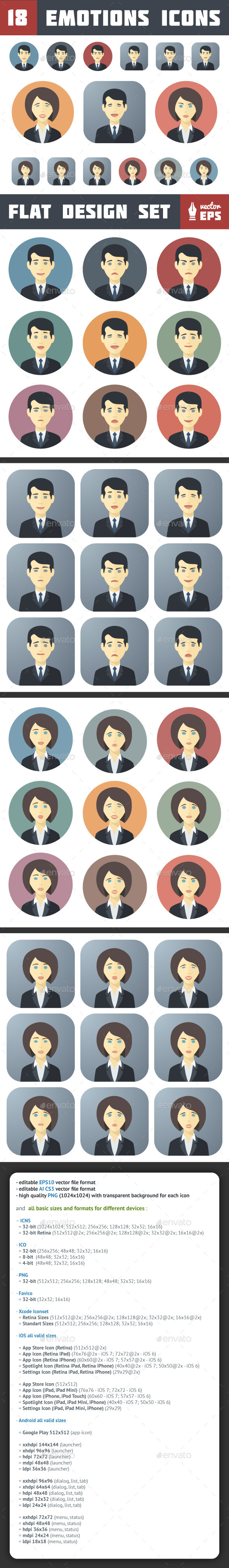 Emotions Icons Set - People Characters