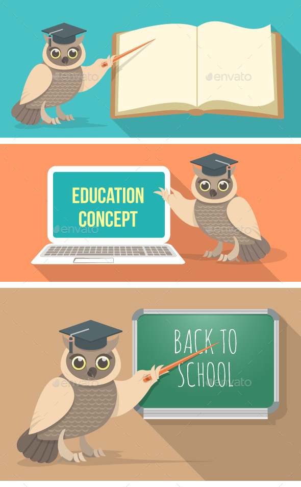 Wise Owl with Book, Laptop and School Board - Animals Characters
