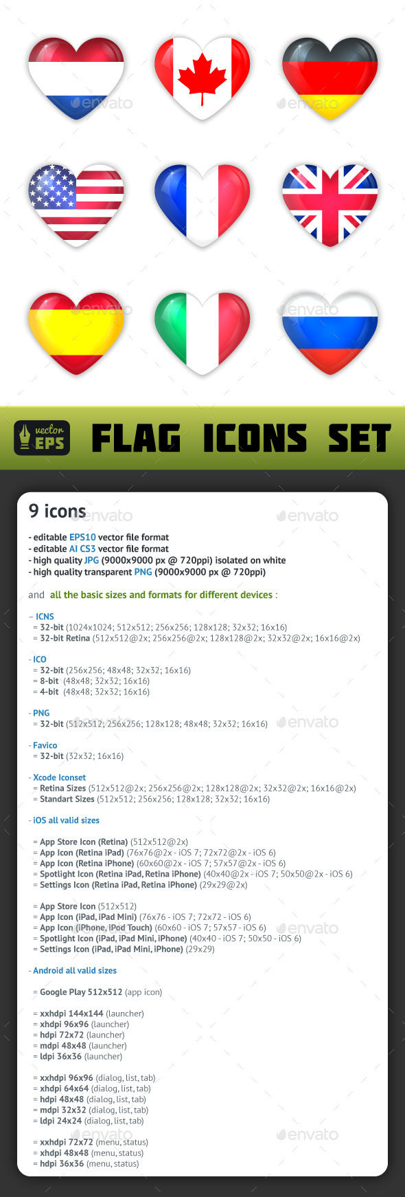 Glass Heart Flags Icons Set - Miscellaneous Icons