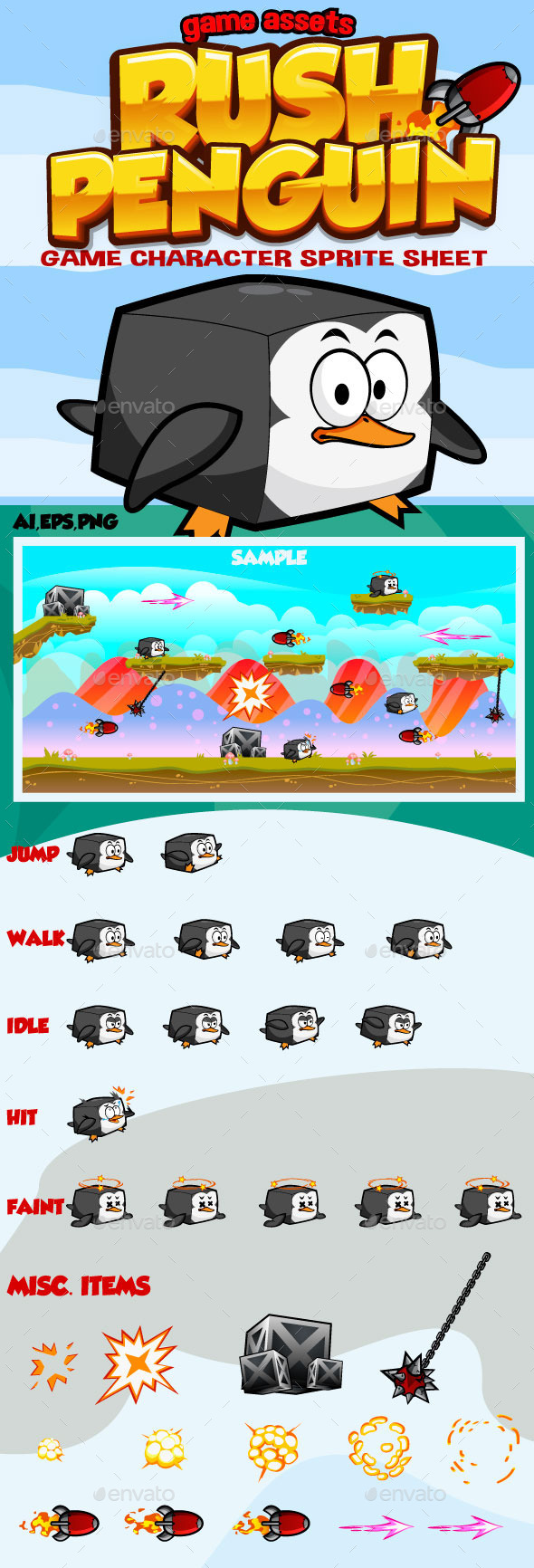Rush Penguin: Game Character - Sprites Game Assets