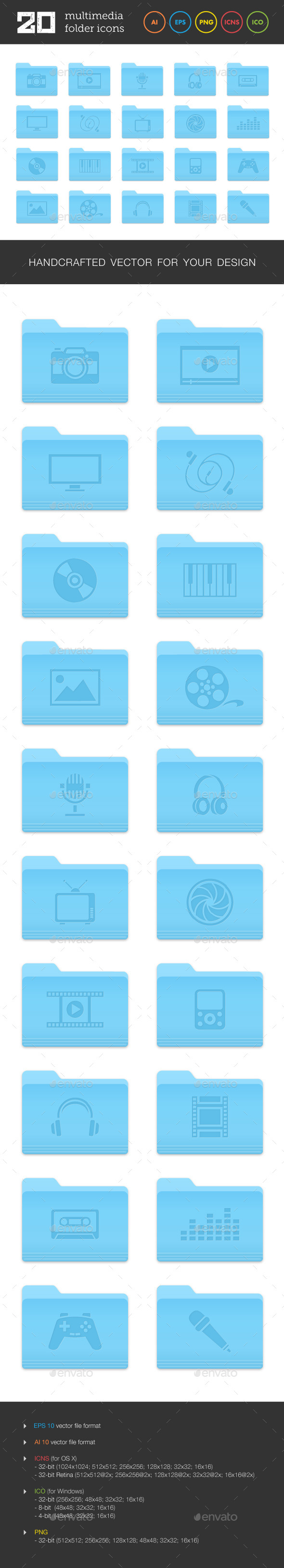Multimedia Folder Icons Set - Media Icons