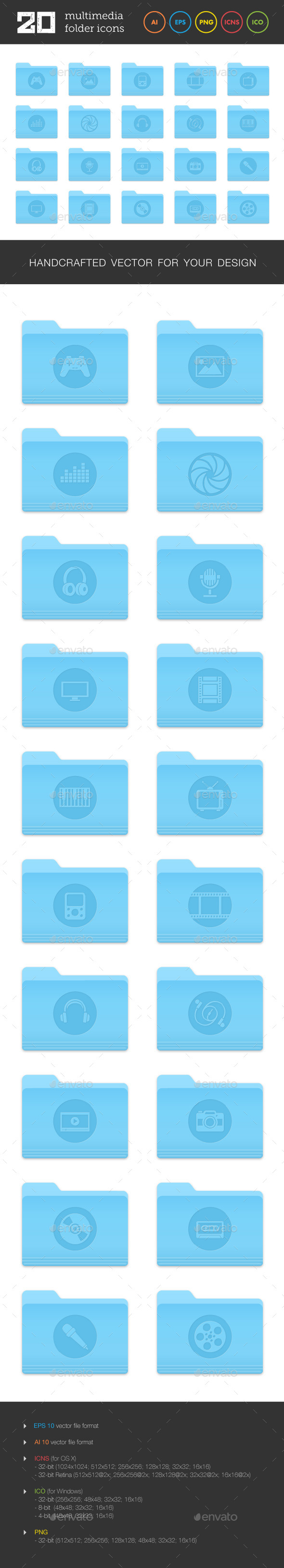 Multimedia Folder Icons Set 2 - Media Icons