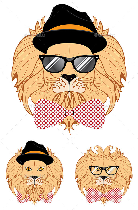 Lion Hipster - Animals Characters