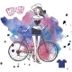 Hipster Teenage Girl on her Vintage Bike - GraphicRiver Item for Sale