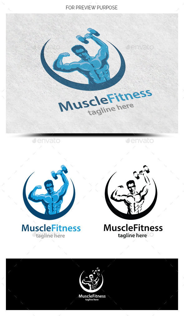 Muscle Fitness Logo Template - Humans Logo Templates