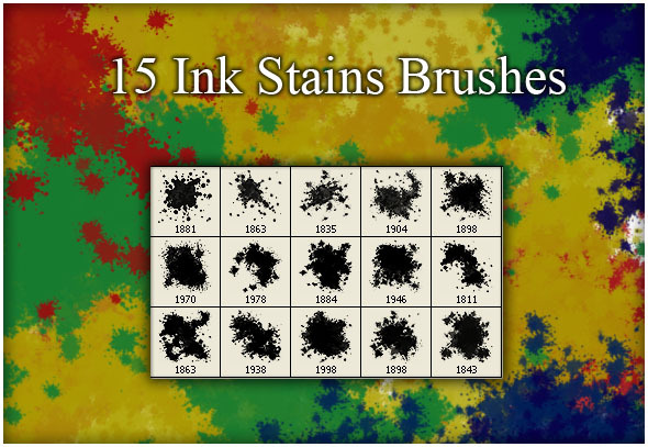 15 Ink Stains Brushes - Brushes Photoshop