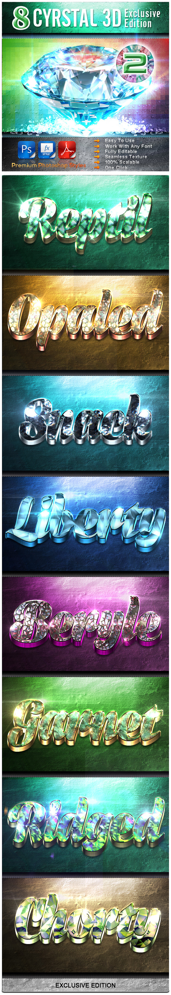 8 Crystal 3D Exclusive Edition Vol.2 - Text Effects Styles
