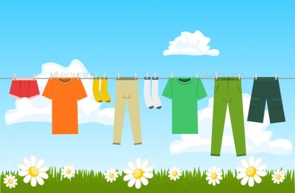 Illustration of Clothes Drying Outdoor - Miscellaneous Vectors