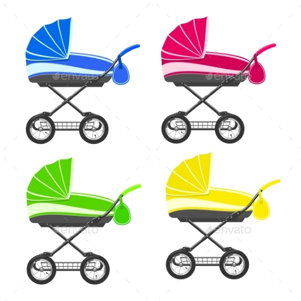 Colored Strollers - Objects Vectors