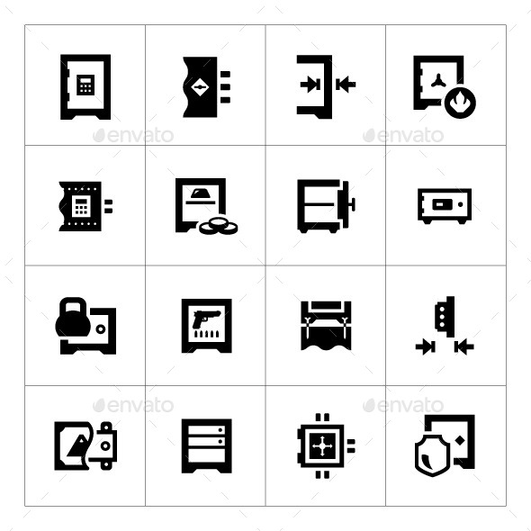 Set Icons of Safe - Man-made objects Objects