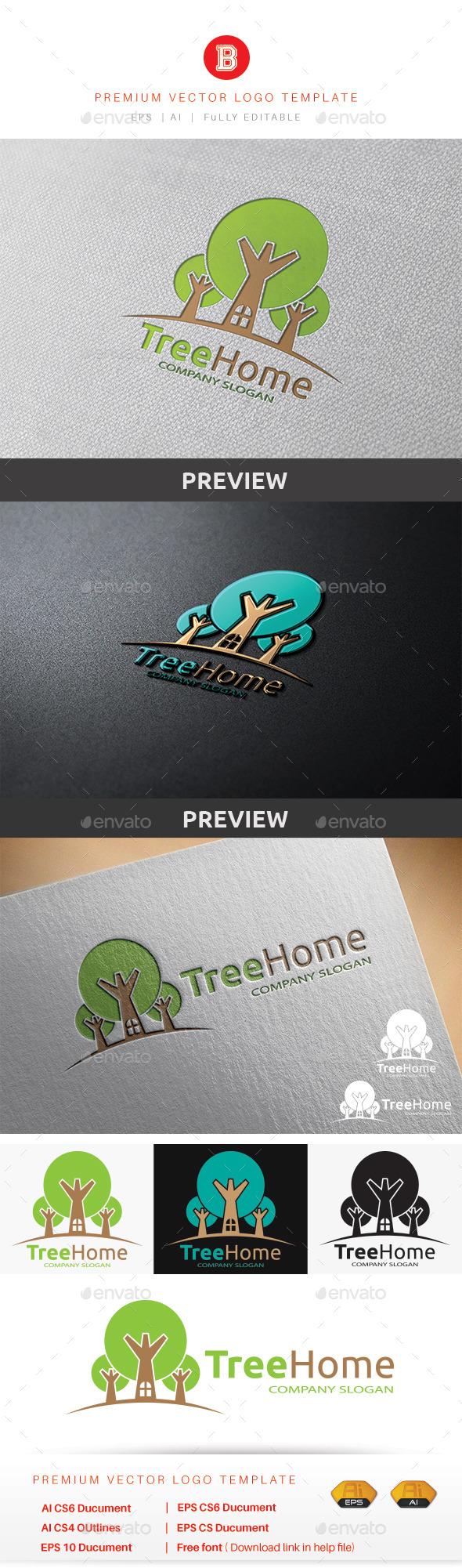 Tree Home - Nature Logo Templates