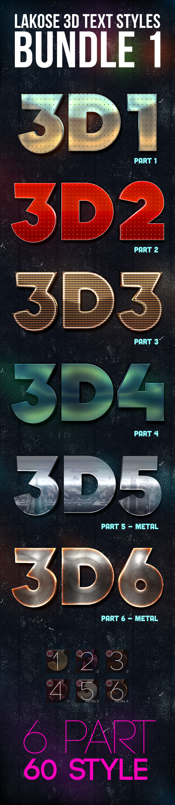Lakose 3D Text Styles Bundle 1 - Text Effects Styles