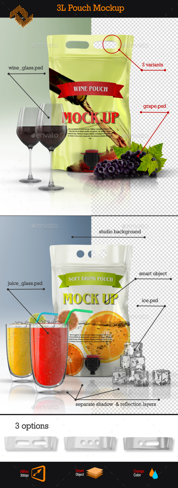 Stand Up Wine Pouch Bag Mockup - Food and Drink Packaging