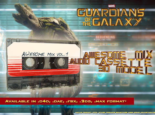 Guardians of the Galaxy Awesome Mix Audio Cassette - 3DOcean Item for Sale