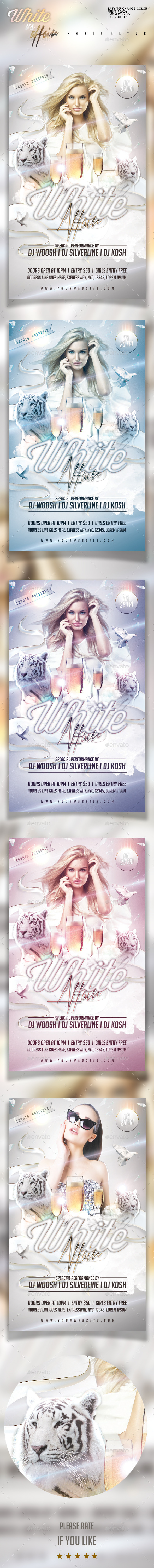 White Affair Party Flyer Template - Clubs & Parties Events