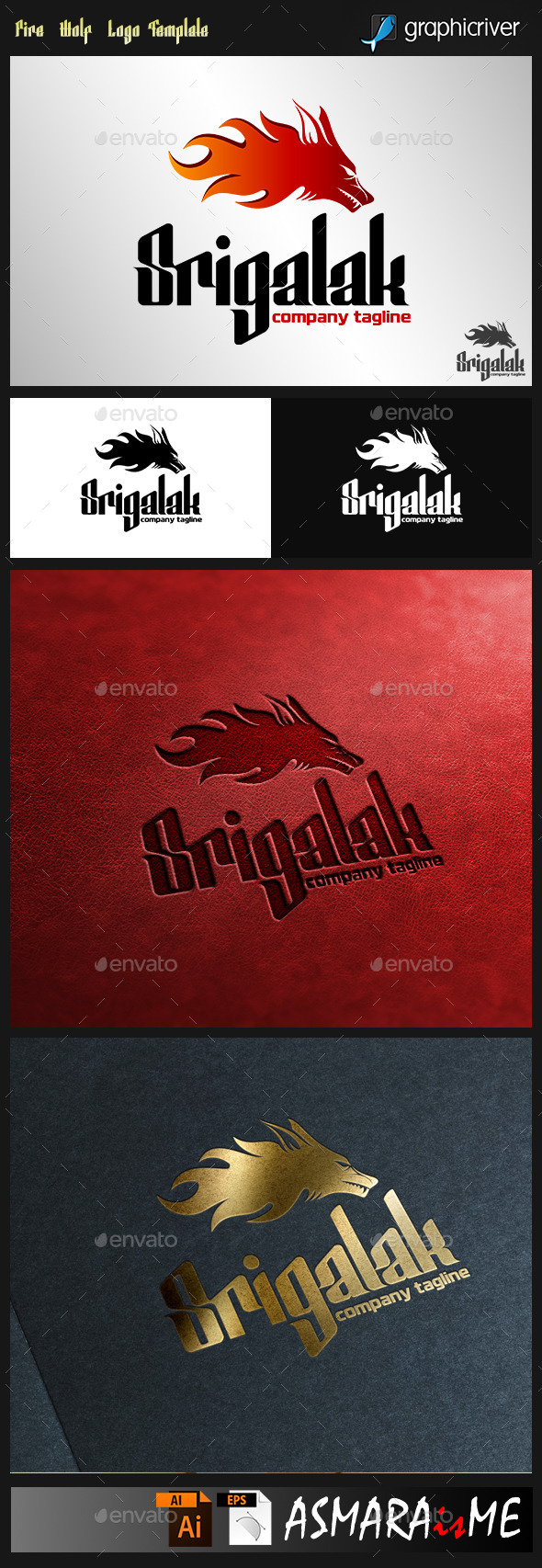 Srigalak - Fire Wolf Logo - Animals Logo Templates